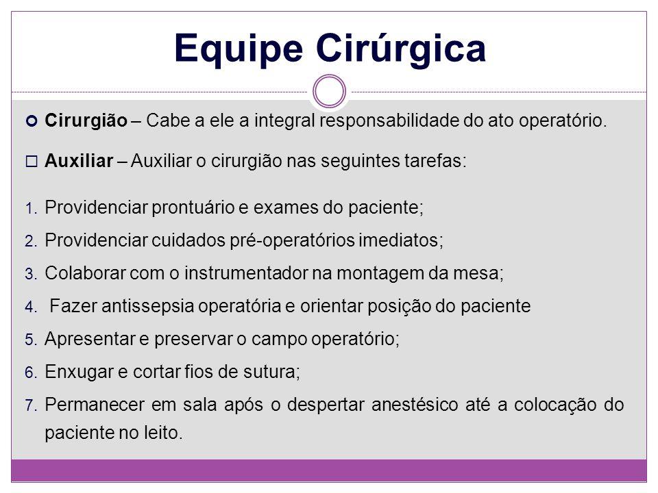 Equipe Cirúrgica Cirurgião – Cabe a ele a integral responsabilidade do ato operatório. Auxiliar – Auxiliar o cirurgião nas seguintes tarefas: 1. Provi