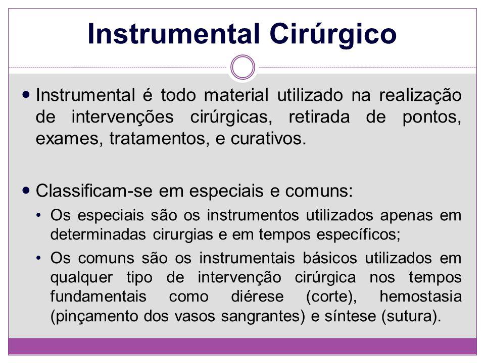Instrumental Cirúrgico Instrumental é todo material utilizado na realização de intervenções cirúrgicas, retirada de pontos, exames, tratamentos, e cur