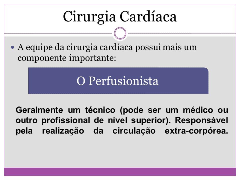 Cirurgia Cardíaca A equipe da cirurgia cardíaca possui mais um componente importante: O Perfusionista Geralmente um técnico (pode ser um médico ou out