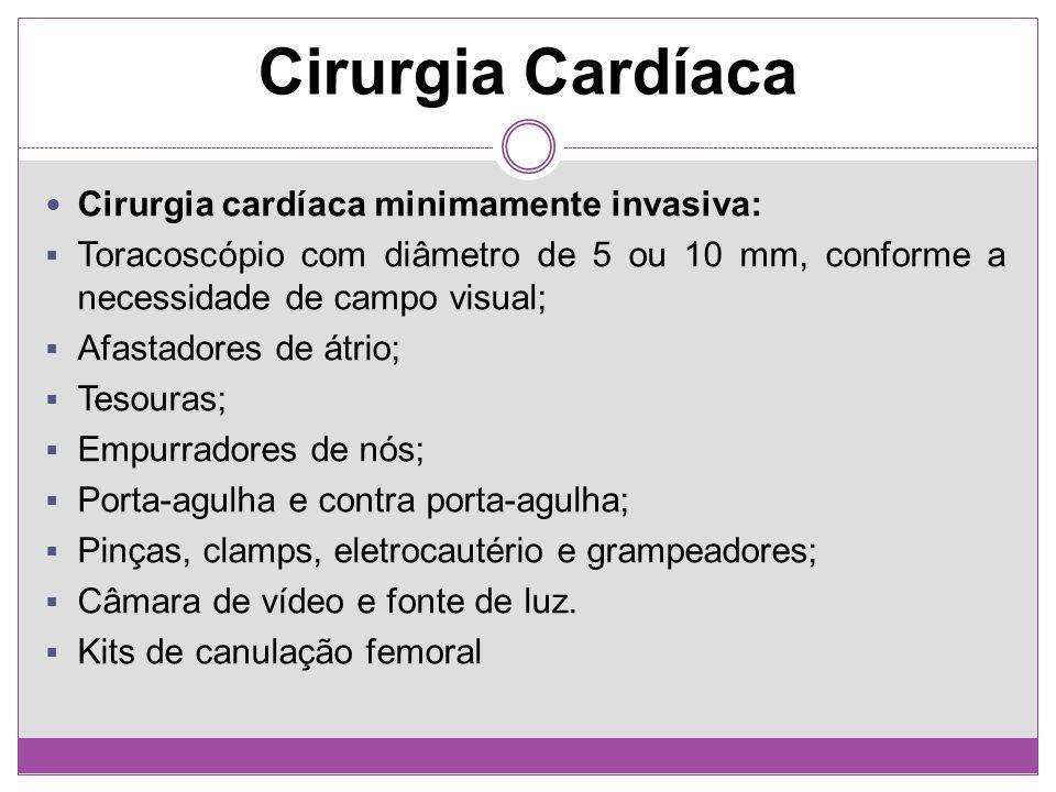 Cirurgia cardíaca minimamente invasiva: Toracoscópio com diâmetro de 5 ou 10 mm, conforme a necessidade de campo visual; Afastadores de átrio; Tesoura