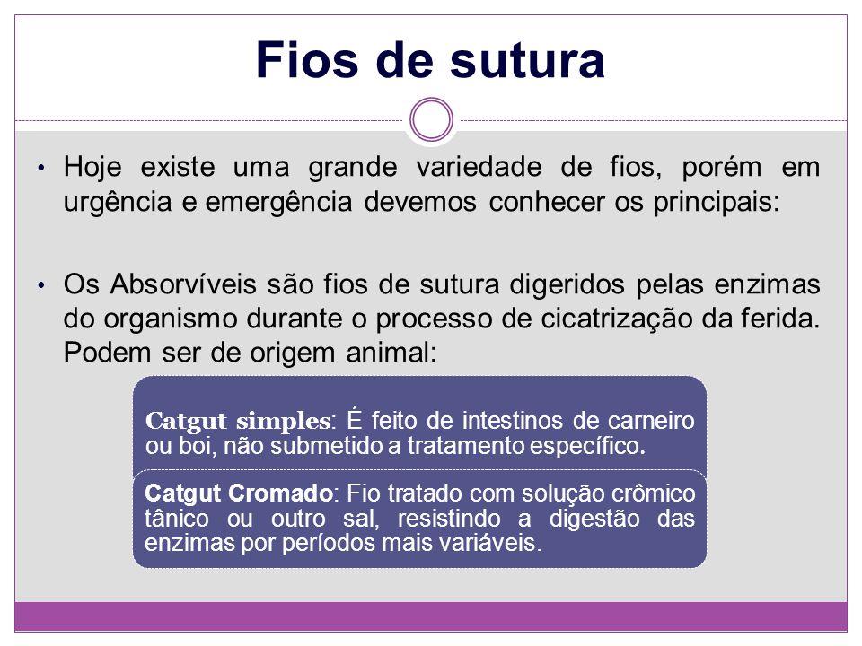 Fios de sutura Hoje existe uma grande variedade de fios, porém em urgência e emergência devemos conhecer os principais: Os Absorvíveis são fios de sut