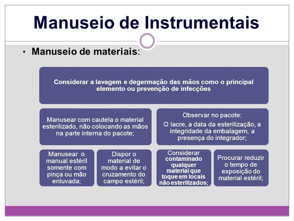 Manuseio de Instrumentais Manuseio de materiais: Considerar a lavagem e degermação das mãos como o principal elemento ou prevenção de infecções Manuse