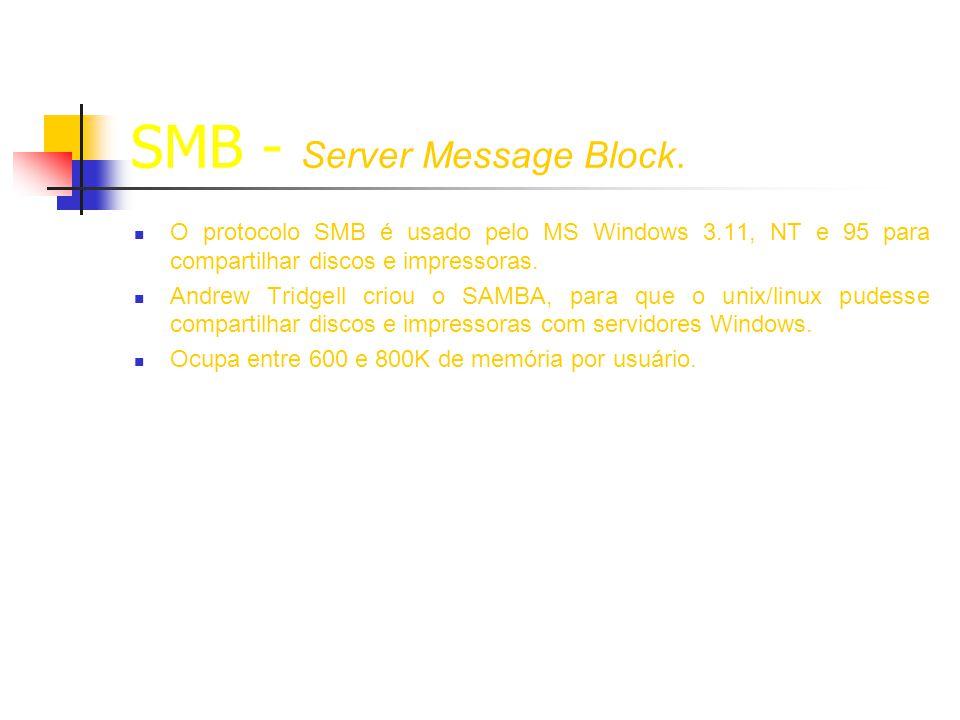 Configuração Samba Smb.conf – (dividido em [seções] e parâmetros) [global] nesta seção todo o parâmetro configurado serve para todas as seções, salvo configuração específica.
