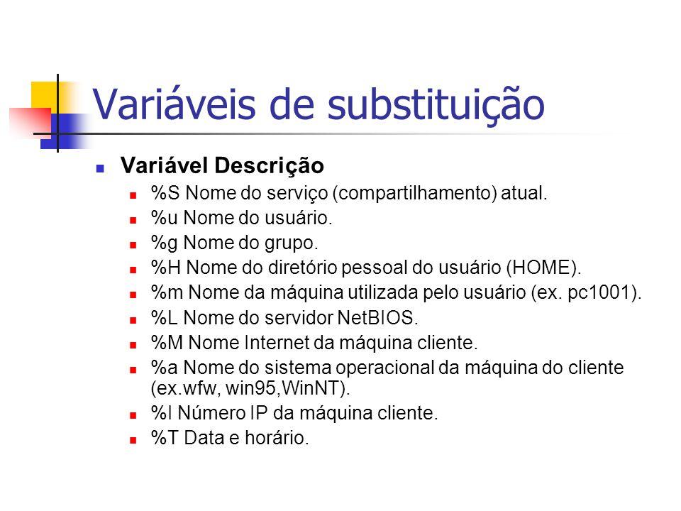 Variáveis de substituição Variável Descrição %S Nome do serviço (compartilhamento) atual.