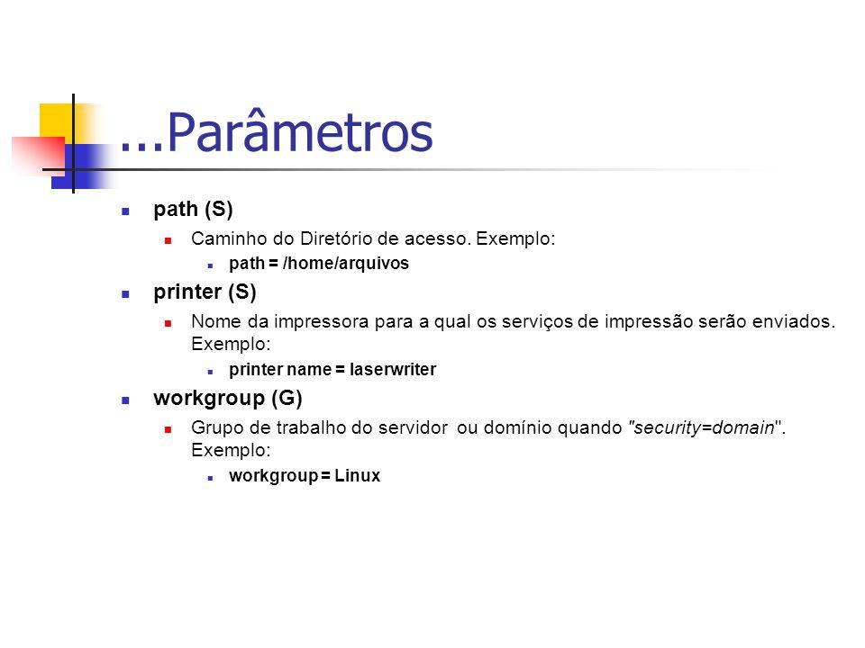 ...Parâmetros path (S) Caminho do Diretório de acesso.