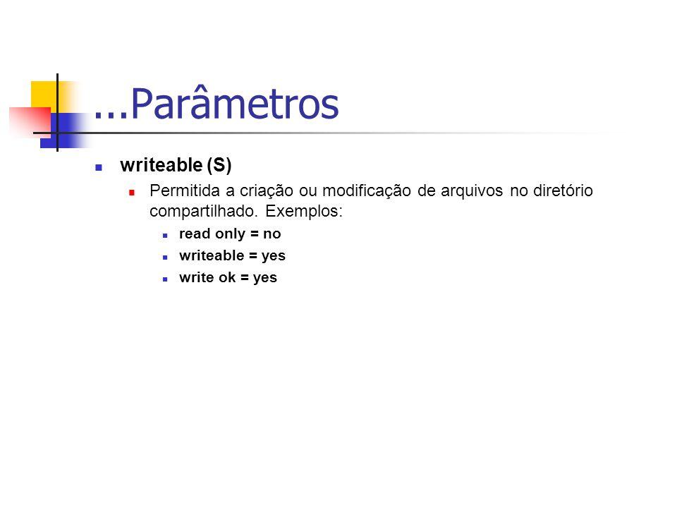 ...Parâmetros writeable (S) Permitida a criação ou modificação de arquivos no diretório compartilhado.