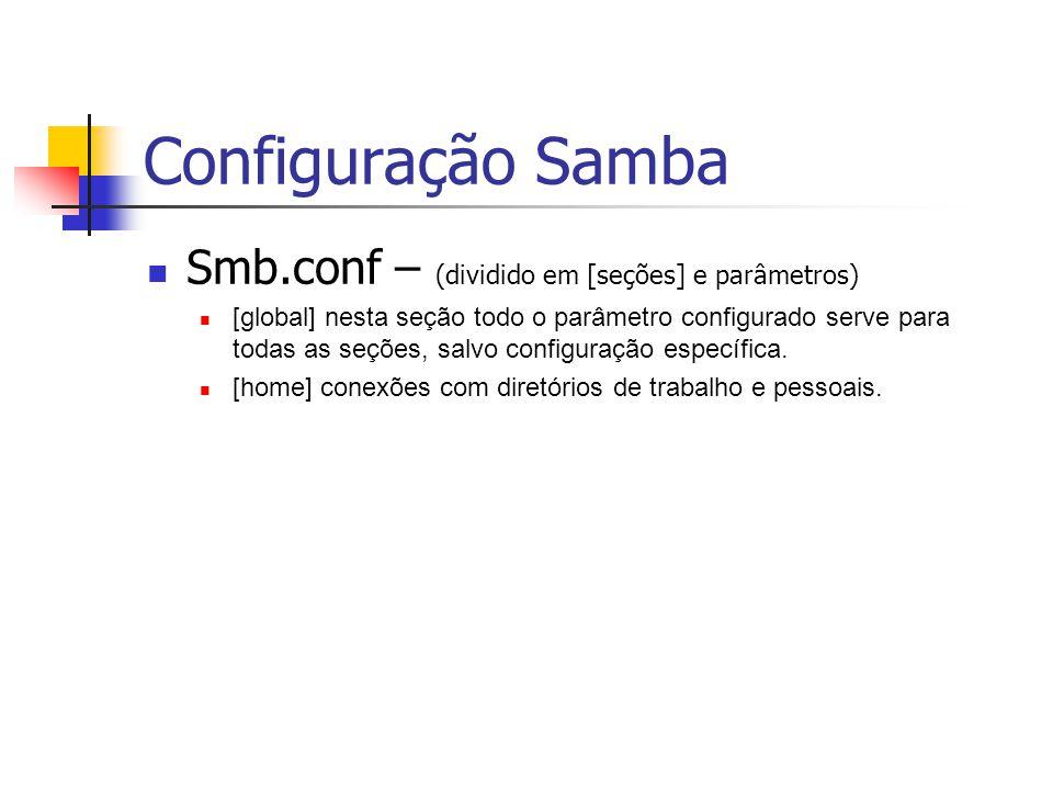 Arquivo smb.conf # Global parameters [global] # Nome do Servidor atribuído no NetBios netbios name = LINUX # Num.