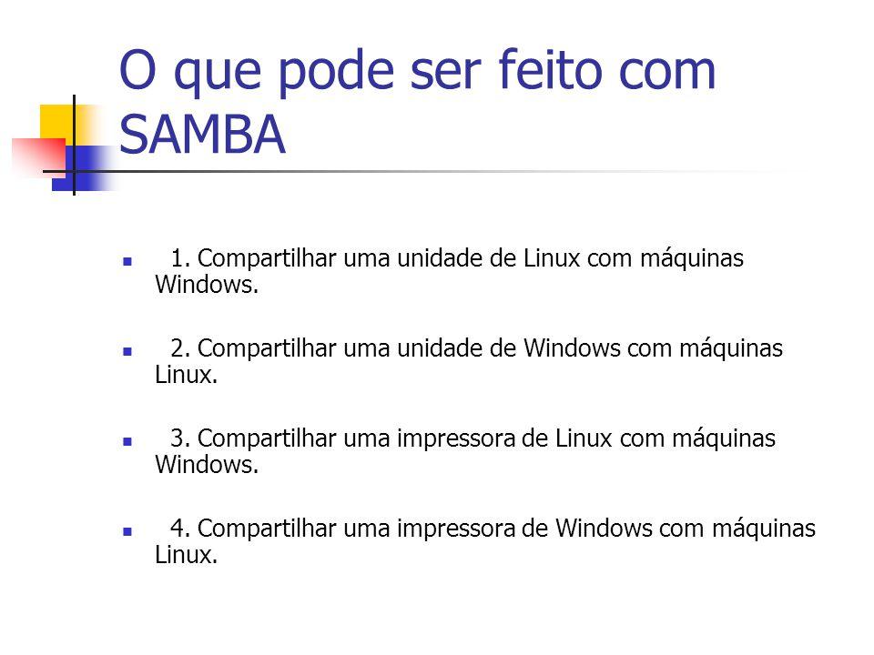 O que pode ser feito com SAMBA 1.Compartilhar uma unidade de Linux com máquinas Windows.