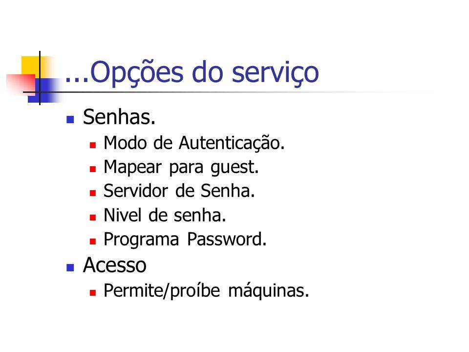 ...Opções do serviço Senhas.Modo de Autenticação.