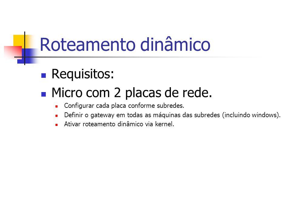 Roteamento dinâmico Requisitos: Micro com 2 placas de rede.