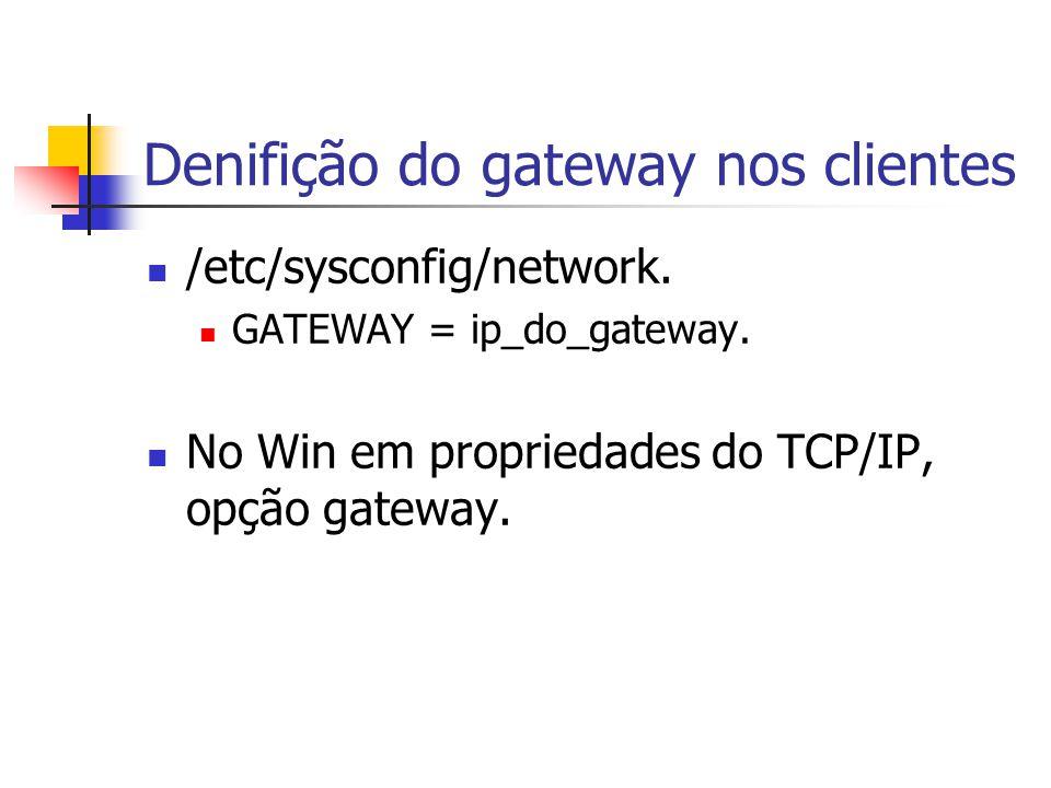 Denifição do gateway nos clientes /etc/sysconfig/network.