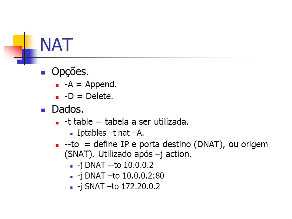 NAT Opções.-A = Append. -D = Delete. Dados. -t table = tabela a ser utilizada.