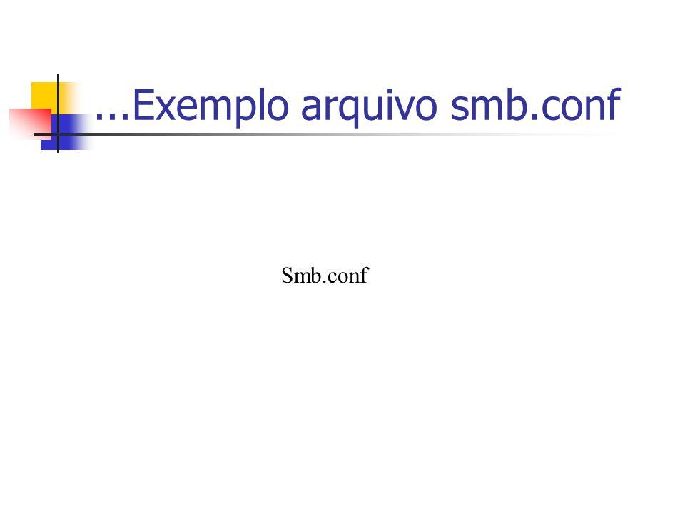 Usuários e senhas smbpasswd [opções] [nome do usuário] Cadastrar usuários no SAMBA smbpasswd –a [nomedousuario] Deletar usuários no SAMBA smbpasswd –x [nomedousuario] Habilitar usuários no SAMBA smbpasswd –e [nomedousuario] Desabilitar usuários no SAMBA smbpasswd –e [nomedousuario]