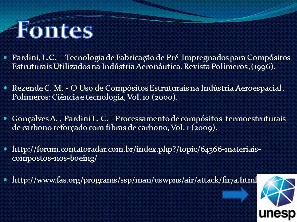 Pardini, L.C. - Tecnologia de Fabricação de Pré-Impregnados para Compósitos Estruturais Utilizados na Indústria Aeronáutica. Revista Polímeros,(1996).