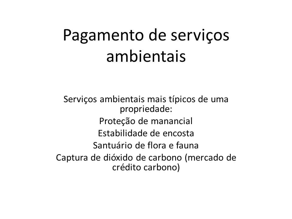 Pagamento de serviços ambientais Serviços ambientais mais típicos de uma propriedade: Proteção de manancial Estabilidade de encosta Santuário de flora