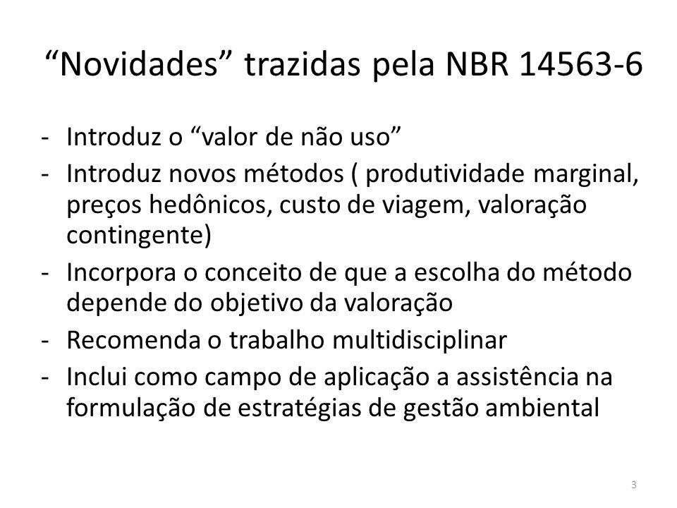 Novidades trazidas pela NBR 14563-6 -Introduz o valor de não uso -Introduz novos métodos ( produtividade marginal, preços hedônicos, custo de viagem,