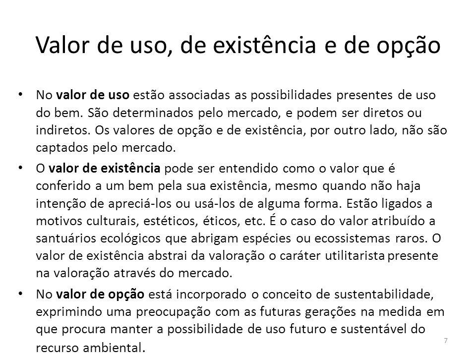 Valor de uso, de existência e de opção No valor de uso estão associadas as possibilidades presentes de uso do bem. São determinados pelo mercado, e po