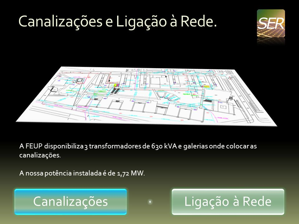 Canalizações e Ligação à Rede. CanalizaçõesLigação à Rede A FEUP disponibiliza 3 transformadores de 630 kVA e galerias onde colocar as canalizações. A
