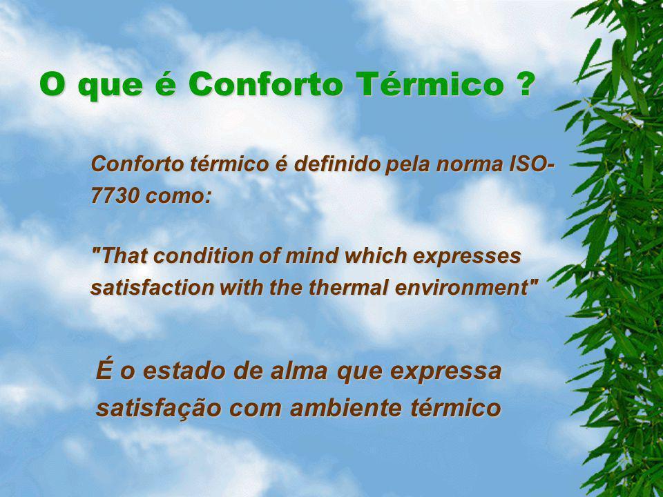 Normas e Regulamentos Para este efeito existem diversas normas e regulamentos que especificam as condições necessárias para se estar confortável: –ISO