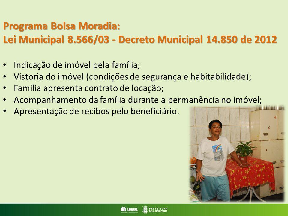 Programa Bolsa Moradia: Lei Municipal 8.566/03 - Decreto Municipal 14.850 de 2012 Indicação de imóvel pela família; Vistoria do imóvel (condições de s