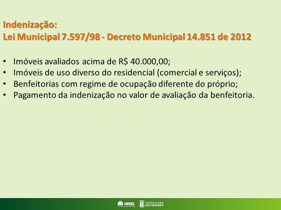 Indenização: Lei Municipal 7.597/98 - Decreto Municipal 14.851 de 2012 Imóveis avaliados acima de R$ 40.000,00; Imóveis de uso diverso do residencial