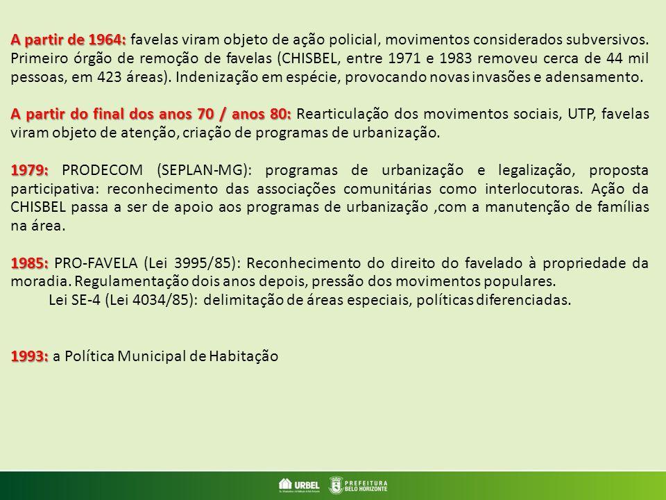 A partir de 1964: A partir de 1964: favelas viram objeto de ação policial, movimentos considerados subversivos. Primeiro órgão de remoção de favelas (