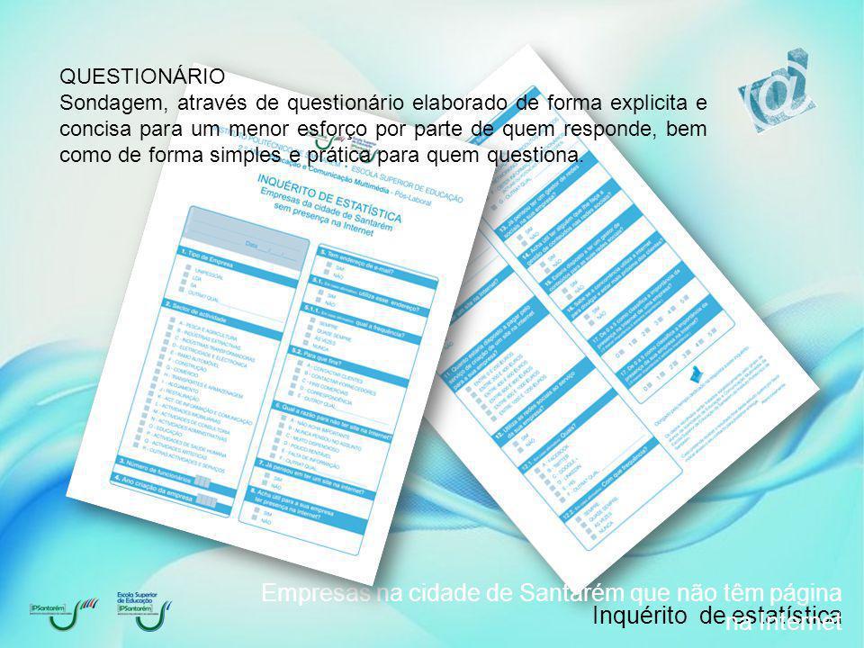 Inquérito de estatística Empresas na cidade de Santarém que não têm página na Internet 1.