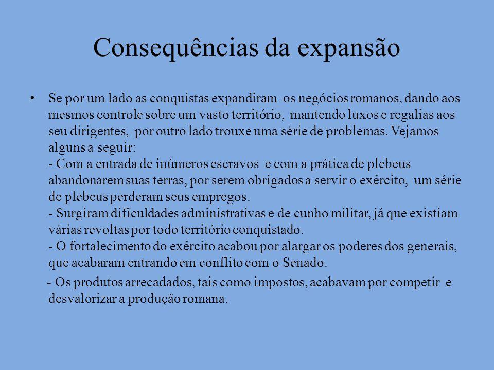 Consequências da expansão Se por um lado as conquistas expandiram os negócios romanos, dando aos mesmos controle sobre um vasto território, mantendo l