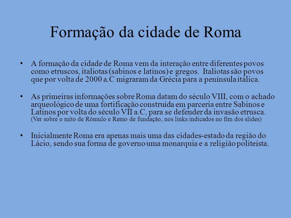 Formação da cidade de Roma A formação da cidade de Roma vem da interação entre diferentes povos como etruscos, italiotas (sabinos e latinos) e gregos.
