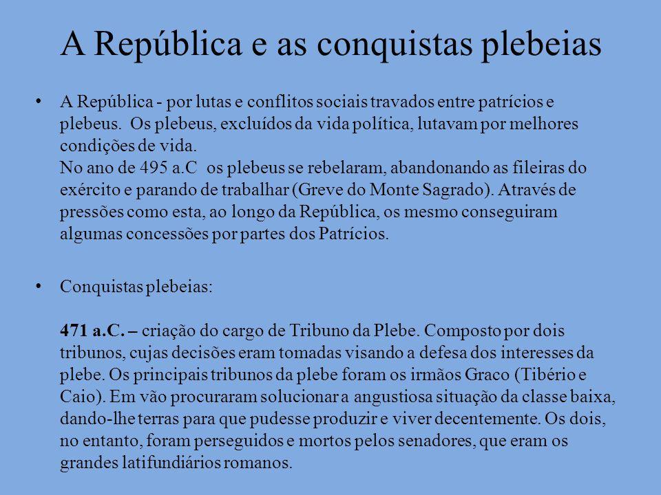 A República e as conquistas plebeias A República - por lutas e conflitos sociais travados entre patrícios e plebeus. Os plebeus, excluídos da vida pol