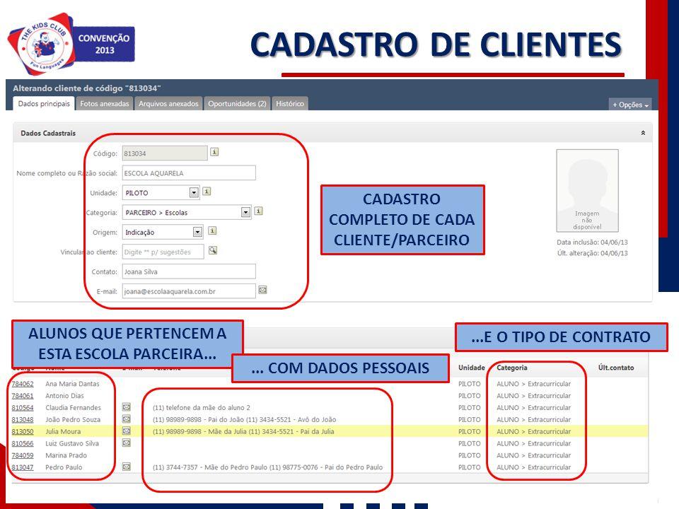 CADASTRO DE CLIENTES CADASTRO COMPLETO DE CADA CLIENTE/PARCEIRO ALUNOS QUE PERTENCEM A ESTA ESCOLA PARCEIRA...... COM DADOS PESSOAIS...E O TIPO DE CON
