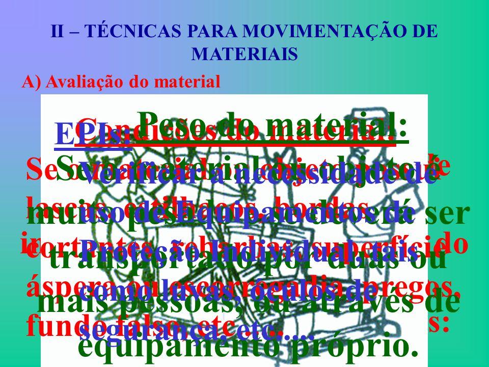 II – TÉCNICAS PARA MOVIMENTAÇÃO DE MATERIAIS A) Avaliação do material Antes de iniciar qualquer trabalho de movimentação de materiais deve-se avaliar