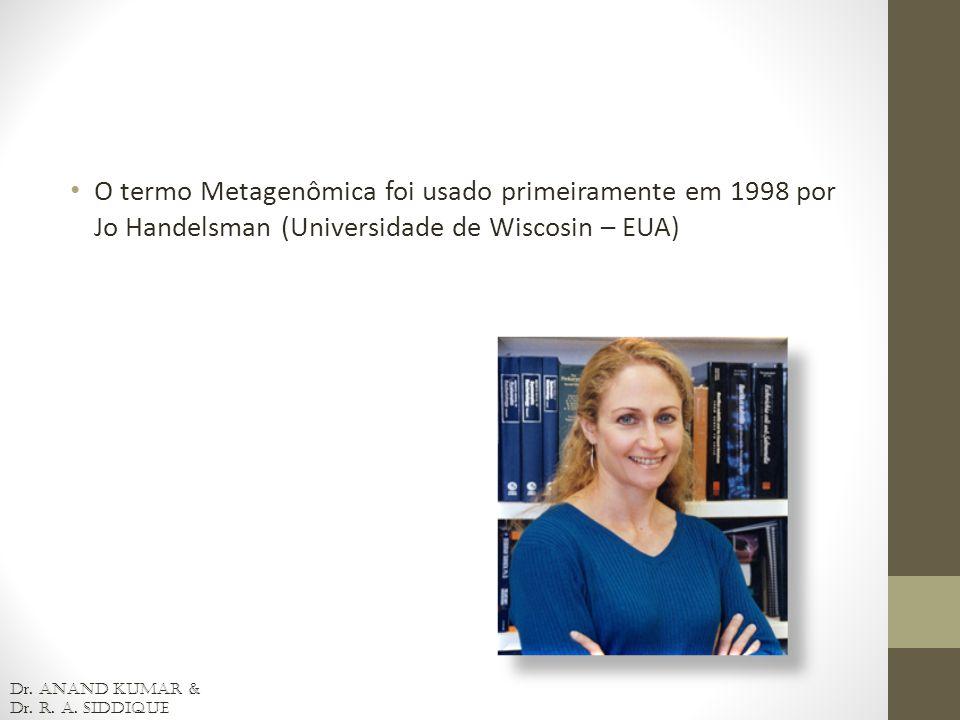 O termo Metagenômica foi usado primeiramente em 1998 por Jo Handelsman (Universidade de Wiscosin – EUA) D r. Anand Kumar & D r. R. A. Siddique