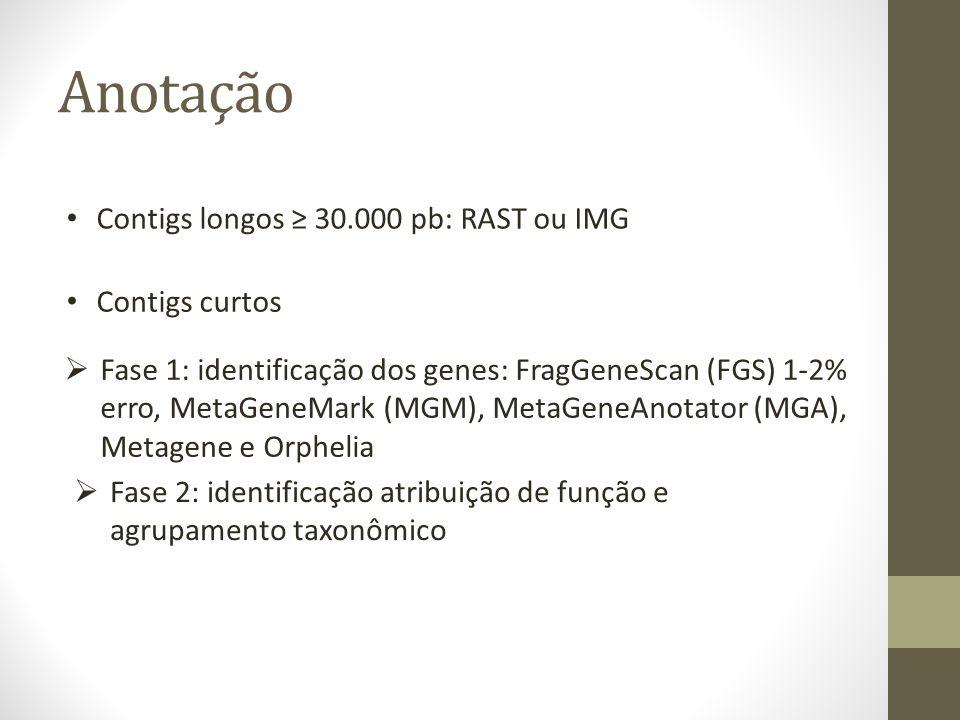 Anotação Contigs longos 30.000 pb: RAST ou IMG Contigs curtos Fase 1: identificação dos genes: FragGeneScan (FGS) 1-2% erro, MetaGeneMark (MGM), MetaG