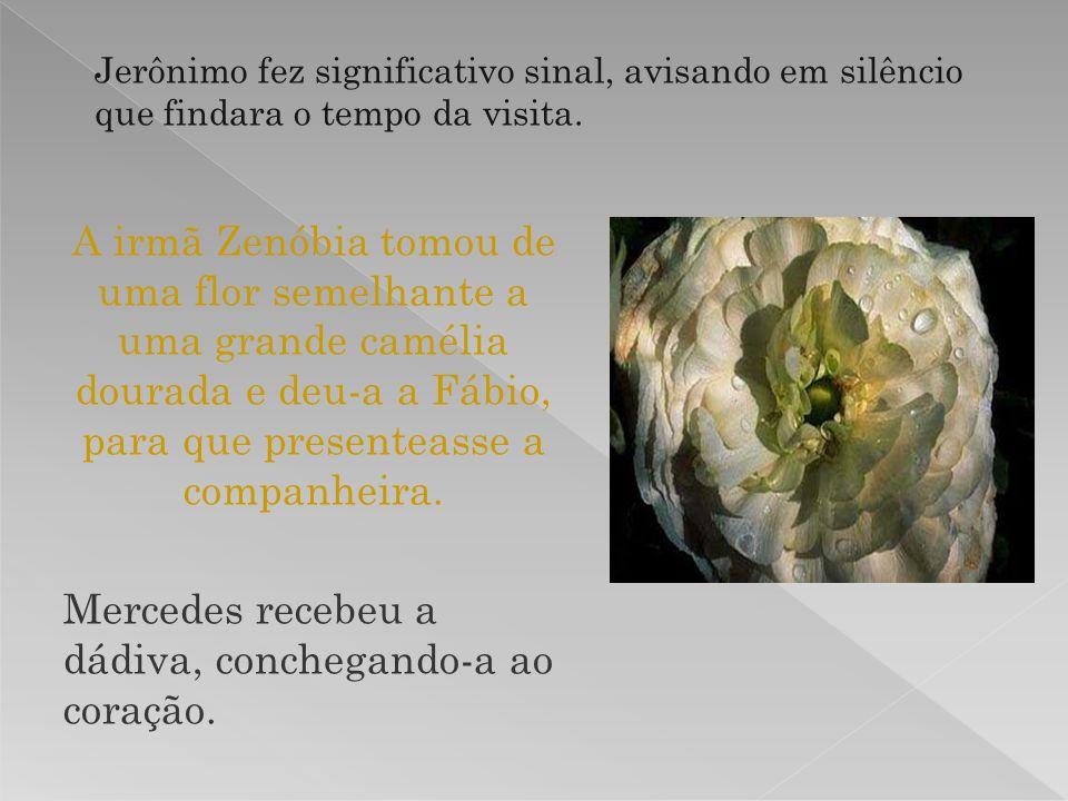 A irmã Zenóbia tomou de uma flor semelhante a uma grande camélia dourada e deu-a a Fábio, para que presenteasse a companheira. Mercedes recebeu a dádi