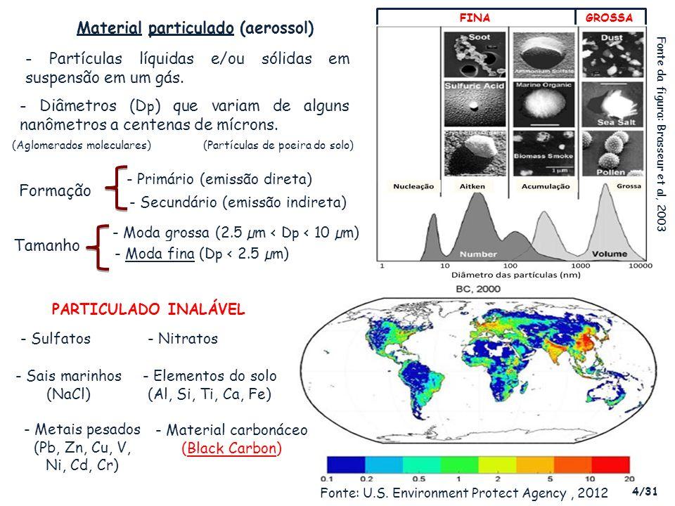 - Efeitos diretos sobre o sistema respiratório e cardiovascular (diâmetros em micrômetros) Areia fina de praia Cabelo humano Combustão de partículas, compostos orgânicos, etc Poeira, pólen, etc Brônquios Bronquíolos respiratórios Alvéolos POLUIÇÃO ATMOSFÉRICA - Preocupante problema de Saúde Pública (Organização Mundial de Saúde, 1999) Tempo de residência das partículas (Tr) T r (PM 2.5 ) > T r (PM 10 ) (Moda fina > Moda grossa) (Artaxo et al, 2006) Populações mais afetadas: crianças e idosos Fonte: Adaptado de Cormier et al, 2006Fonte: Adaptado de Flickr, 2008 9/31