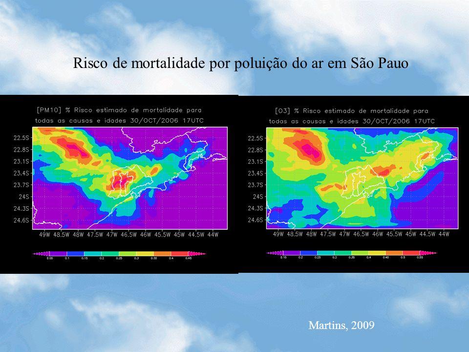 Martins, 2009 Risco de mortalidade por poluição do ar em São Pauo