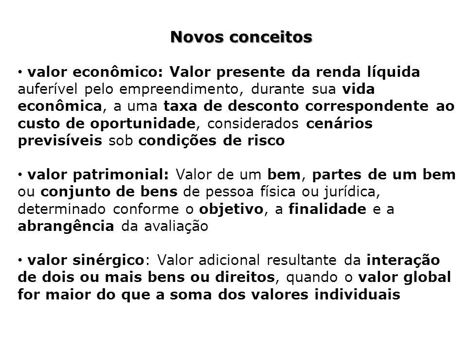 Novos conceitos valor econômico: Valor presente da renda líquida auferível pelo empreendimento, durante sua vida econômica, a uma taxa de desconto cor