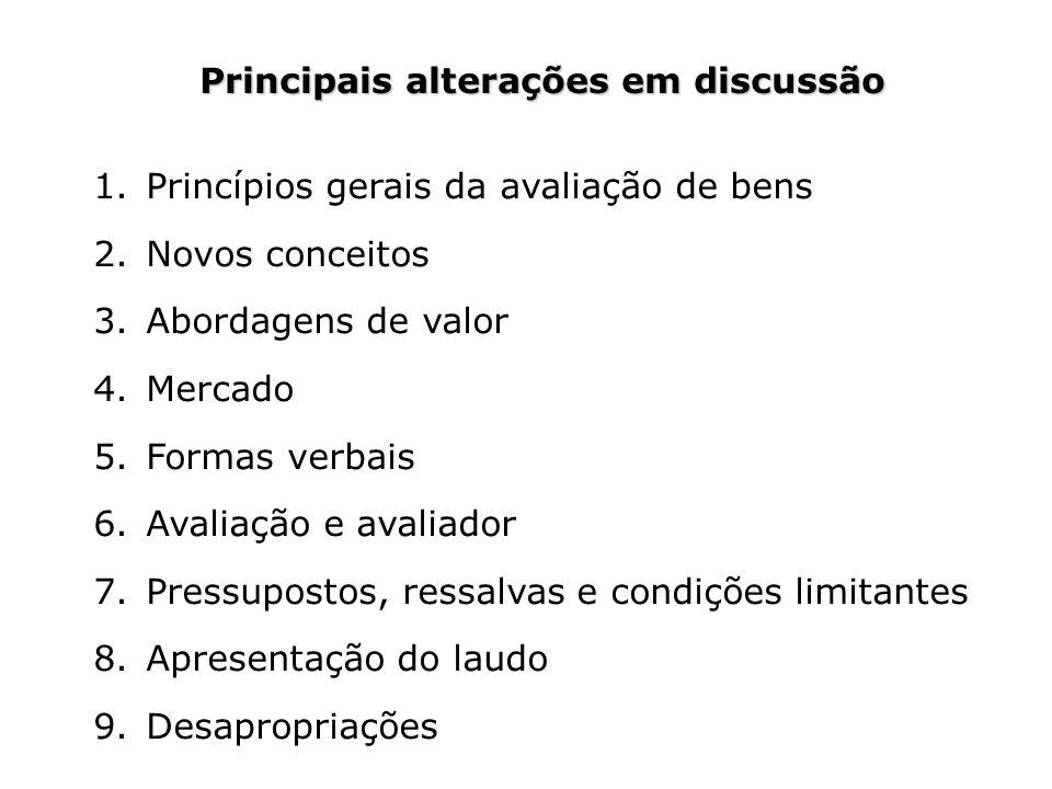 Principais alterações em discussão 1.Princípios gerais da avaliação de bens 2.Novos conceitos 3.Abordagens de valor 4.Mercado 5.Formas verbais 6.Avali