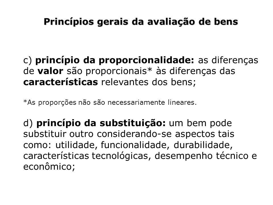 Princípios gerais da avaliação de bens c) princípio da proporcionalidade: as diferenças de valor são proporcionais* às diferenças das características