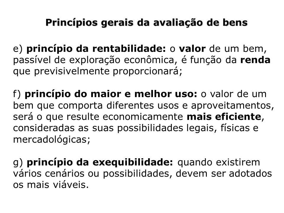 Princípios gerais da avaliação de bens e) princípio da rentabilidade: o valor de um bem, passível de exploração econômica, é função da renda que previ