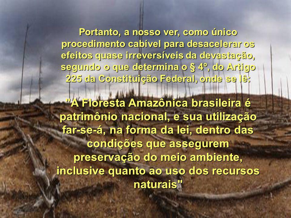 Portanto, a nosso ver, como único procedimento cabível para desacelerar os efeitos quase irreversíveis da devastação, segundo o que determina o § 4º, do Artigo 225 da Constituição Federal, onde se lê: A Floresta Amazônica brasileira é patrimônio nacional, e sua utilização far-se-á, na forma da lei, dentro das condições que assegurem preservação do meio ambiente, inclusive quanto ao uso dos recursos naturais