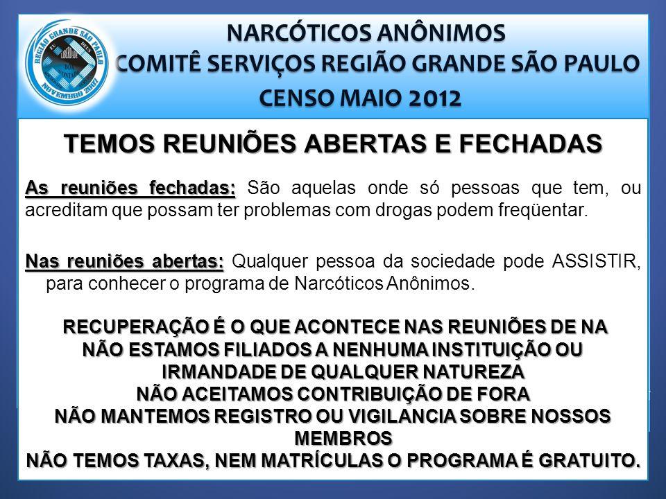 NARCÓTICOS ANÔNIMOS NARCÓTICOS ANÔNIMOS COMITÊ SERVIÇOS REGIÃO GRANDE SÃO PAULO COMITÊ SERVIÇOS REGIÃO GRANDE SÃO PAULO CENSO MAIO 2012 CENSO MAIO 2012 TEMOS REUNIÕES ABERTAS E FECHADAS As reuniões fechadas: As reuniões fechadas: São aquelas onde só pessoas que tem, ou acreditam que possam ter problemas com drogas podem freqüentar.
