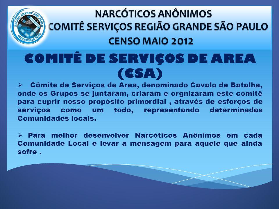 NARCÓTICOS ANÔNIMOS NARCÓTICOS ANÔNIMOS COMITÊ SERVIÇOS REGIÃO GRANDE SÃO PAULO COMITÊ SERVIÇOS REGIÃO GRANDE SÃO PAULO CENSO MAIO 2012 CENSO MAIO 2012 COMITÊ DE SERVIÇOS DE AREA (CSA) Cômite de Serviços de Area, denominado Cavalo de Batalha, onde os Grupos se juntaram, criaram e orgnizaram este comitê para cuprir nosso propósito primordial, através de esforços de serviços como um todo, representando determinadas Comunidades locais.