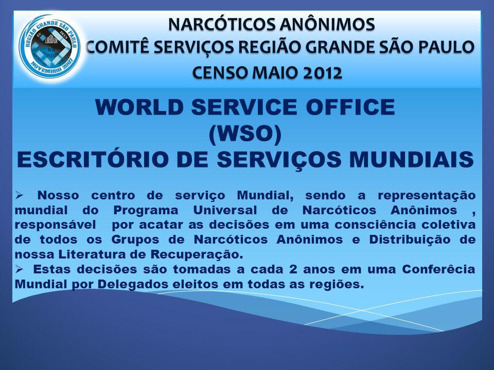 NARCÓTICOS ANÔNIMOS NARCÓTICOS ANÔNIMOS COMITÊ SERVIÇOS REGIÃO GRANDE SÃO PAULO COMITÊ SERVIÇOS REGIÃO GRANDE SÃO PAULO CENSO MAIO 2012 CENSO MAIO 2012 WORLD SERVICE OFFICE (WSO) ESCRITÓRIO DE SERVIÇOS MUNDIAIS Nosso centro de serviço Mundial, sendo a representação mundial do Programa Universal de Narcóticos Anônimos, responsável por acatar as decisões em uma consciência coletiva de todos os Grupos de Narcóticos Anônimos e Distribuição de nossa Literatura de Recuperação.