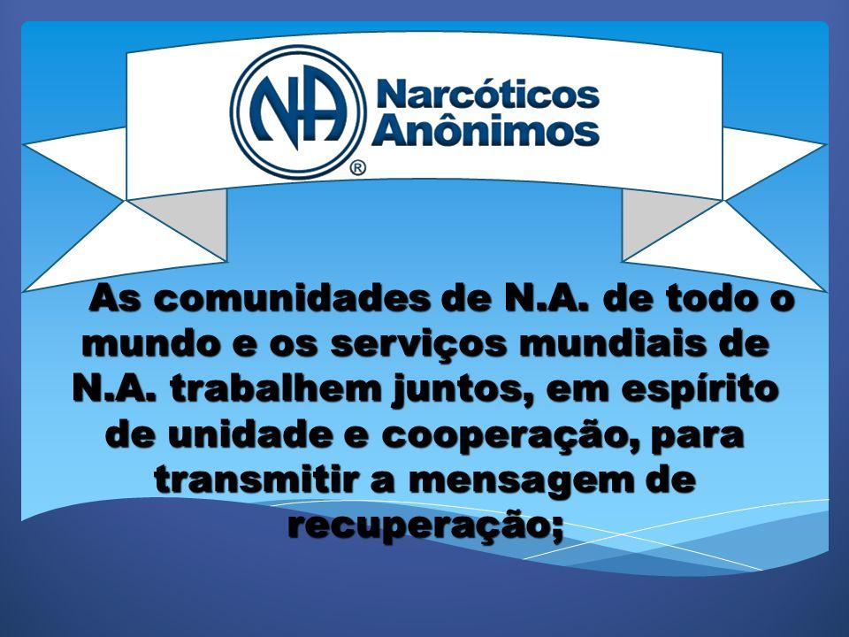 NARCÓTICOS ANÔNIMOS NARCÓTICOS ANÔNIMOS COMITÊ SERVIÇOS REGIÃO GRANDE SÃO PAULO COMITÊ SERVIÇOS REGIÃO GRANDE SÃO PAULO CENSO MAIO 2012 CENSO MAIO 2012 Site: www.nasp.org.br www.nasp.org.br ASGSP – ASSOCIAÇÃO DE SERVIÇO DOS GRUPOS DE SÃO PAULO CNPJ Nº 10.217.092/0001-10 CONTATOS Telefone SP Capital: 55 11 3101-9626 Telefone Baixada Santista: 55 13 3289-8645 E-mail: contato@nasp.org.br contato@nasp.org.br Horário de atendimento Capital SP: Seg a Sex de 8:00 h às 17:00.