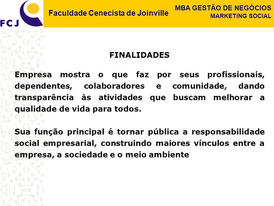 Faculdade Cenecista de Joinville MBA GESTÃO DE NEGÓCIOS MARKETING SOCIAL FINALIDADES Empresa mostra o que faz por seus profissionais, dependentes, col