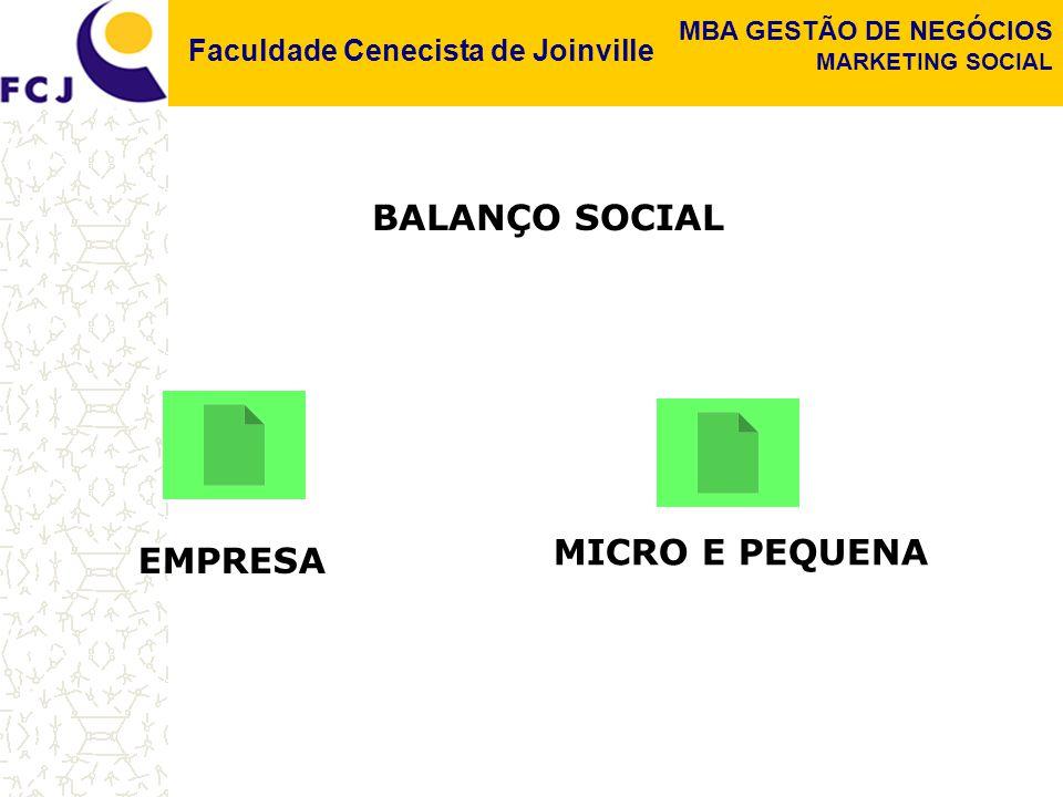 Faculdade Cenecista de Joinville MBA GESTÃO DE NEGÓCIOS MARKETING SOCIAL BALANÇO SOCIAL EMPRESA MICRO E PEQUENA