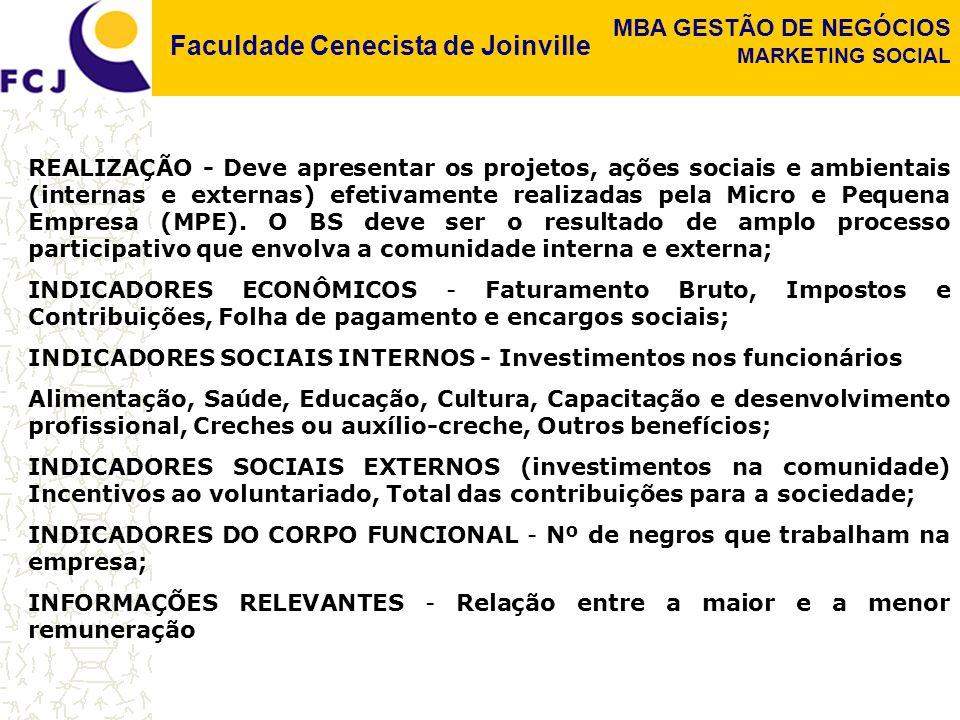 Faculdade Cenecista de Joinville MBA GESTÃO DE NEGÓCIOS MARKETING SOCIAL REALIZAÇÃO - Deve apresentar os projetos, ações sociais e ambientais (interna