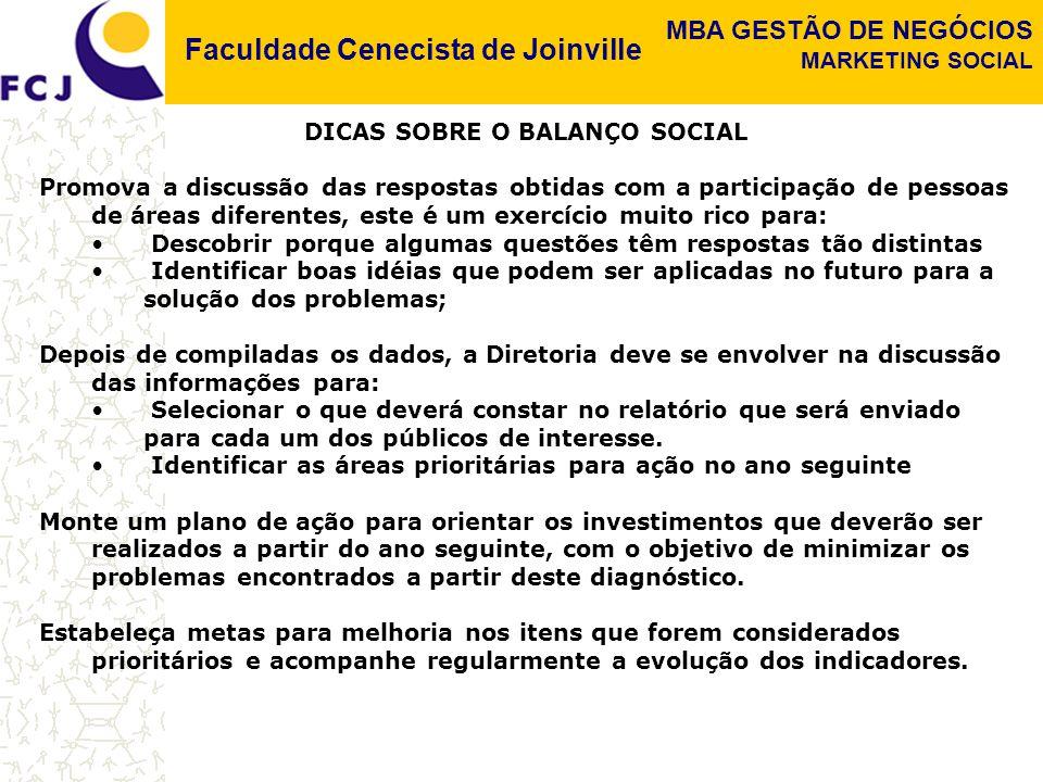 Faculdade Cenecista de Joinville MBA GESTÃO DE NEGÓCIOS MARKETING SOCIAL DICAS SOBRE O BALANÇO SOCIAL Promova a discussão das respostas obtidas com a